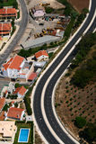 Aerial view of an highway bend Stock Photography