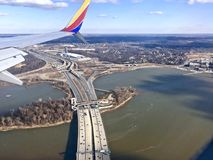 aerial view of a highway bridge stock photography