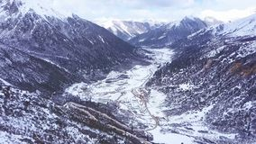 Aerial view of highway at Chola Mountain Valley in Dege Country stock video footage