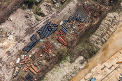Aerial view of highway  construction site Royalty Free Stock Photos