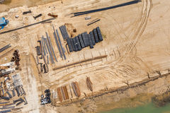 Aerial view of highway  construction site Royalty Free Stock Images