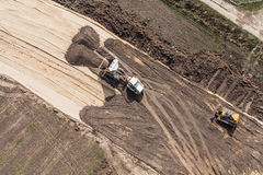 Aerial view of highway  construction site Stock Photo