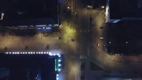 Aerial view of highway empty road city street in night. Aerial view of road rural village in night. Video