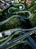 Aerial view of highway, expressway and motorway with a toll payment point in Italy. Aerial view of highway, expressway and motorway with a toll payment point in stock photo