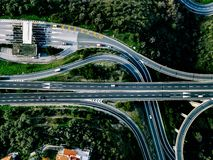 Aerial view of highway, expressway and motorway with a toll payment point in Italy. Aerial view of highway, expressway and motorway with a toll payment point in stock photos