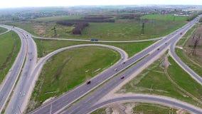 Aerial View of a Highway, Freeway, Motorway, Urban City Transportation Interchange. stock footage