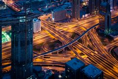 Aerial view of highway interchange in Dubai at night. Complex highway interchange on Dubai highway at night, UAE Royalty Free Stock Photos