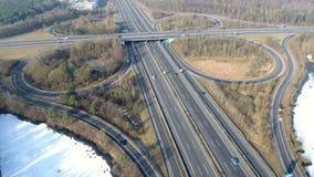 Aerial view of highway interchange stock footage