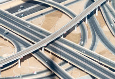 Aerial view of highway interchange of modern urban city.  Stock Photo