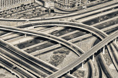 Aerial view of highway interchange of modern urban city.  Royalty Free Stock Photography