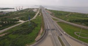 Aerial view of highway interchange of modern urban city. stock footage