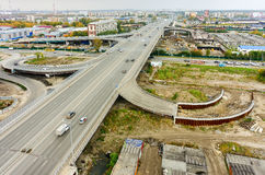 Aerial view of highway interchange of modern urban Royalty Free Stock Photos