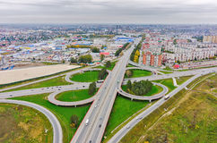 Aerial view of highway interchange of modern urban Stock Photography