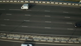 Aerial view of highway interchange in Moscow city stock video