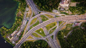 Aerial view of highway interchange. Paton Bridge. Kiev, Ukraine. Stock Photos