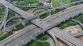 Aerial view of highway interchange - transport concept footage. stock video footage
