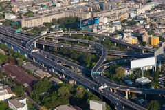 Aerial view, highway intersection in Bangkok city Royalty Free Stock Images
