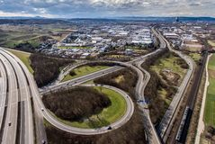 Aerial view of a highway intersection with a clover-leaf interchange Germany Koblenz Stock Photography