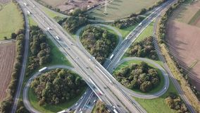 Highway intersection aerial view stock video