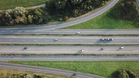 Highway intersection aerial view stock footage