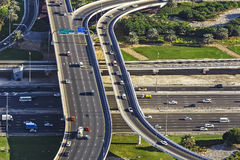 Aerial view of a highway intersection in Dubai, Stock Photo