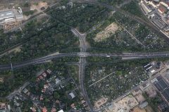 Aerial View of Highway Intersection In Magdeburg Royalty Free Stock Images