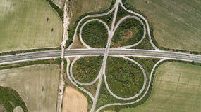 Aerial view of highway intersection. Road junction. Top view Stock Photo