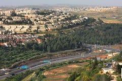 Aerial view on highway. Jerusalem, Israel. Royalty Free Stock Image