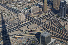 Aerial view of a highway junction. Aerial view of highway junction in Dubai, UAE. View from the height of Burj Khalifa Stock Image