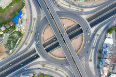 Aerial view of highway junctions Top view of Urban city, Bangkok, Thailand stock photos