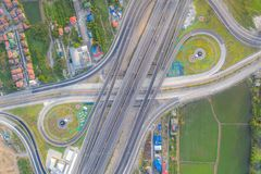 Aerial view of highway junctions Top view of Urban city, Bangkok, Thailand royalty free stock photos