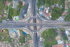 Aerial view of highway junctions Top view of Urban city, Bangkok, Thailand stock image