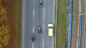 Aerial view of a highway with Motorcycles on it stock video footage