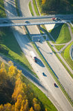 Aerial View of Highway (motorway) traffic in Vilnius Royalty Free Stock Photos