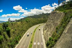 Aerial view of highway in the mountains to visit the municipal dump in the city of Quito, Ecuador Stock Photos