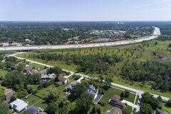 Aerial view of a suburban highway Stock Photos
