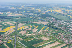Aerial view of highway near Olesnica town Royalty Free Stock Images