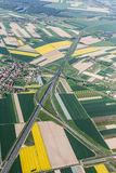 Aerial view of highway near Olesnica town Stock Images