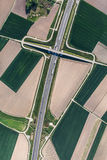 Aerial view of highway near Olesnica town Royalty Free Stock Image