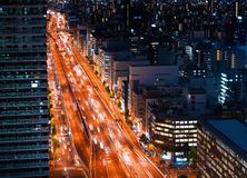 Aerial view of a highway in Osaka Stock Images