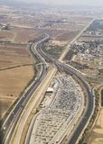 Aerial view of highway, parking and road interchange in Israel Stock Image