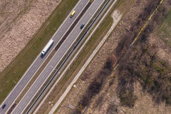 Aerial view of highway Stock Photos