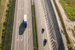 Aerial view of the highway in Poland Royalty Free Stock Images