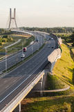Aerial view of the highway in Poland Royalty Free Stock Photo