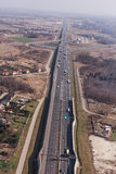 Aerial view of highway in Poland Stock Image