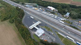Aerial view highway and rest area. Aerial view German highway A3 and rest area Medenbach