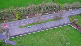 Aerial view of highway rest area in Wales - United Kingdom.  stock video