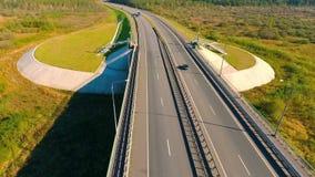 Aerial view of highway road. Car bridge. Bird eye view of transport on road. Aerial view of highway road. Car bridge. Bird eye view of transport on highway road stock video footage