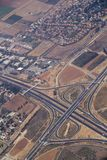 Aerial view of highway and road interchange in Israel Royalty Free Stock Photos