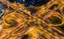 Aerial view highway road intersection for transportation, distribution import export or distribution background stock photography